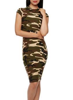 Bodycon Midi Dress in Camo Print - 3410068518729