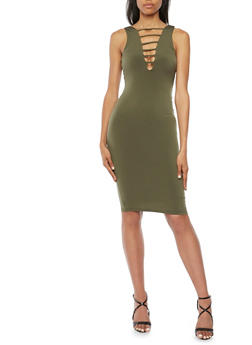 Bodycon Dress with Cutout Detail - OLIVE - 3410069390060