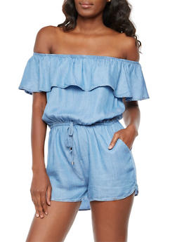 Off the Shoulder Chambray Romper - 3410069390066