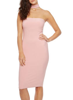 Strapless Dress with Neck Strap - 3410069390069