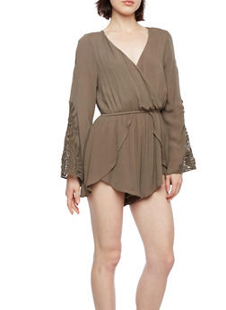 Textural Romper with Crochet Sleeves and a Plunging Neckline - 3410069390082