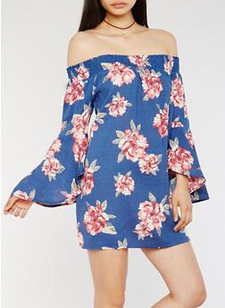 Floral Off the Shoulder Bell Sleeve Dress - 3410069390113