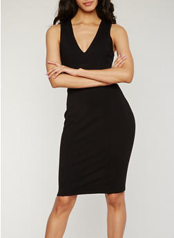 Sleeveless V Neck Midi Dress with Caged Back - 3410069390146