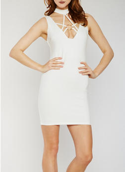 Sleeveless Ponte O Ring Choker Dress - WHITE - 3410069390161