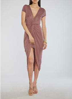 Solid Knot Front Faux Wrap Midi Dress - 3410069390168