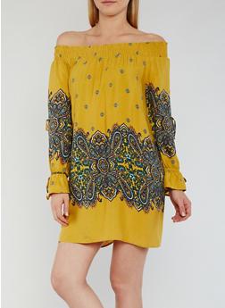 Off the Shoulder Border Print Dress with Split Sleeves - 3410069390170