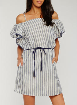 Off the Shoulder Striped Dress with Rope Tie - 3410069390181