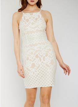 Sleeveless Lace Zip Back Mini Dress - WHITE - 3410069390183