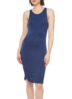 Bodycon Midi Dress with Back Cutout - 3410069390196