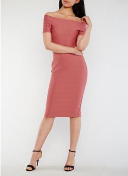Off the Shoulder Midi Bandage Dress - 3410069390203