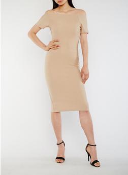 Off the Shoulder Midi Bandage Dress - 3410069390203