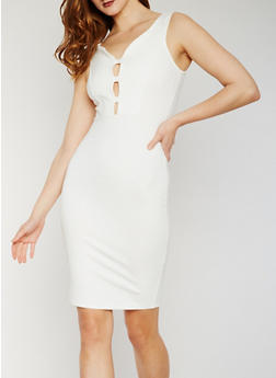 Sleeveless Caged V Neck Midi Dress - IVORY - 3410069390221