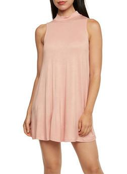 Sleeveless A Line Dress with Mock Neck - 3410069390269