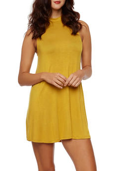 Sleeveless A Line Dress with Mock Neck - 3410069390269