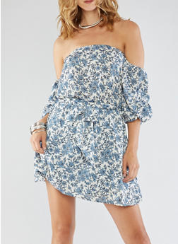 Cold Shoulder Printed Dress with Cinched Waist - 3410069390291