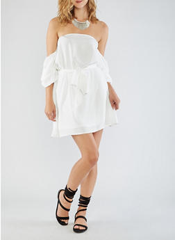 Off the Shoulder Ruched Sleeve Dress - OFF WHITE - 3410069390292
