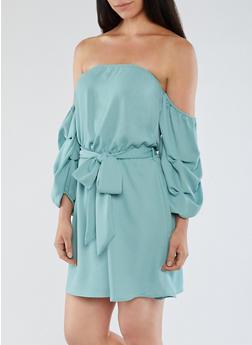 Off the Shoulder Ruched Sleeve Dress - 3410069390292