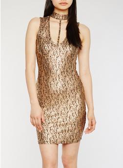 Printed Lurex Mini Choker Dress - 3410069390294
