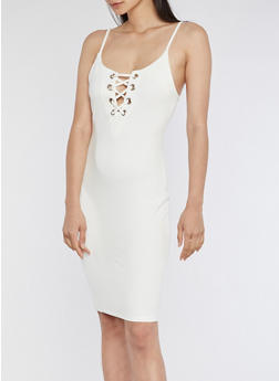 Lace Up Grommet Bodycon Dress - OFF WHITE - 3410069390303