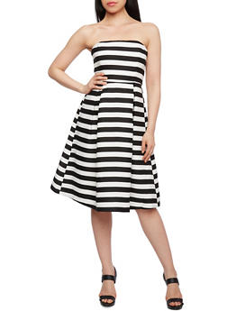 Striped Strapless Dress with Boning at the Bust - 3410069390502