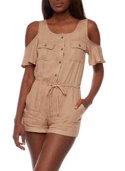 Cold Shoulder Button Front Romper - KHAKI - 3410069390780