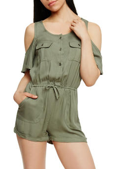 Cold Shoulder Button Front Romper - OLIVE - 3410069390780