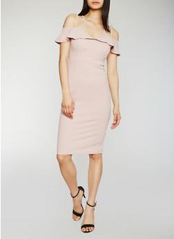 Double Strap Off the Shoulder Midi Dress - 3410069391005