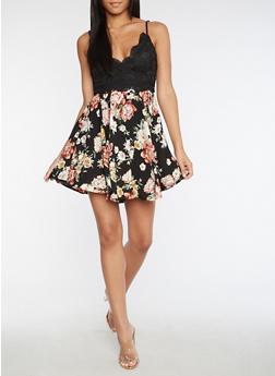 Crochet Floral Skater Dress - 3410069391014