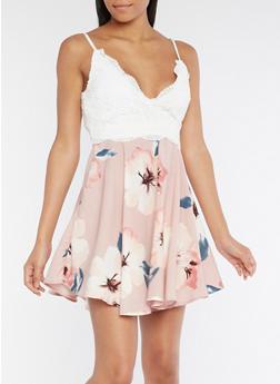 Floral Crochet Skater Dress - 3410069391015