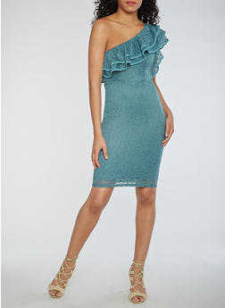 Ruffled One Shoulder Lace Dress - 3410069391030
