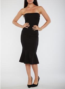 Strapless Flared Hem Bodycon Dress - BLACK - 3410069391039