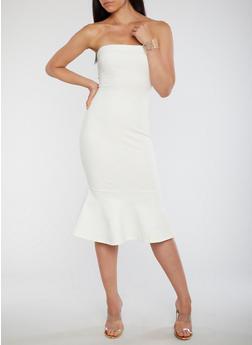 Strapless Flared Hem Bodycon Dress - OFF WHITE - 3410069391039