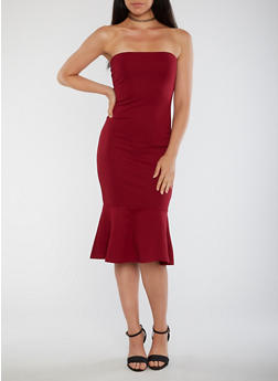 Strapless Flared Hem Bodycon Dress - 3410069391039