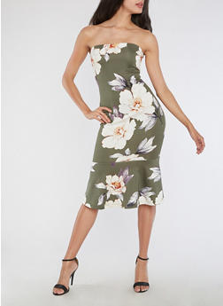Floral Print Tube Midi Dress with Flounce Hem - 3410069391099