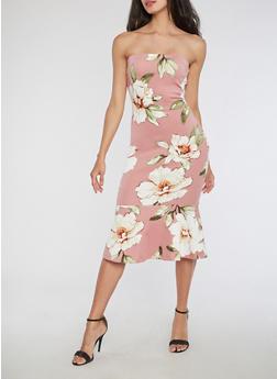 Floral Print Tube Midi Dress with Flounce Hem - 3410069391099