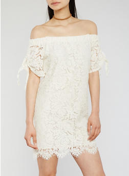 Off the Shoulder Lace Dress with Tie Sleeves - CREAM - 3410069391238