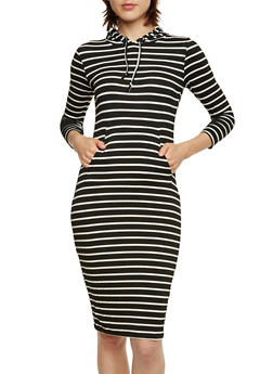 Hooded Midi Dress with Striped Print and Pockets - 3410069392220