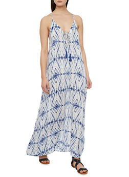 Printed Maxi Dress with Lace-Up Neckline - 3410069392246