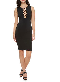 Midi Dress with Plunging Lace Up Neckline - 3410069392319