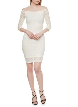 Lace Midi Bodycon Dress with Three Quarter Length Sleeves - 3410069392404