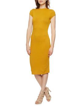 Ribbed Midi Dress with Mock Neck - MUSTARD - 3410069392429