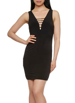 Bodycon Mini Dress with Caged Double V-Neck - 3410069392443