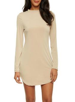 Long Sleeve Mini Dress with Mock Neck - 3410069392546