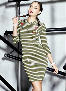 Striped Mini Dress with Patches and Hood - 3410069392562