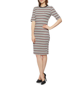 Striped T-Shirt Dress with Short Sleeves - 3410069392577