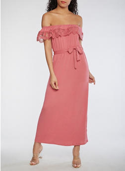 Crochet Trim Off the Shoulder Maxi Dress - 3410069392788