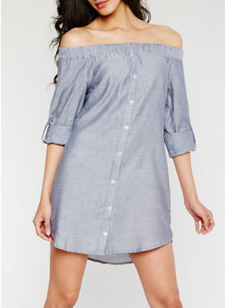 Off the Shoulder Button Front Chambray Dress - 3410069392797