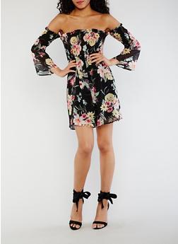 Smocked Off the Shoulder Floral Dress - 3410069392826