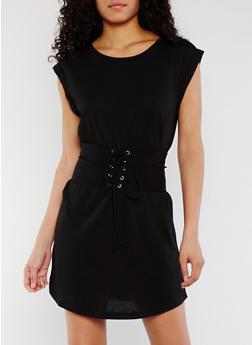 Cuffed T Shirt Dress with Corset Belt - BLACK - 3410069392870