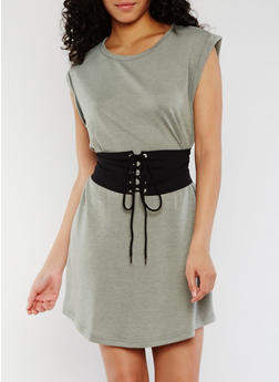Cuffed T Shirt Dress with Corset Belt - 3410069392870